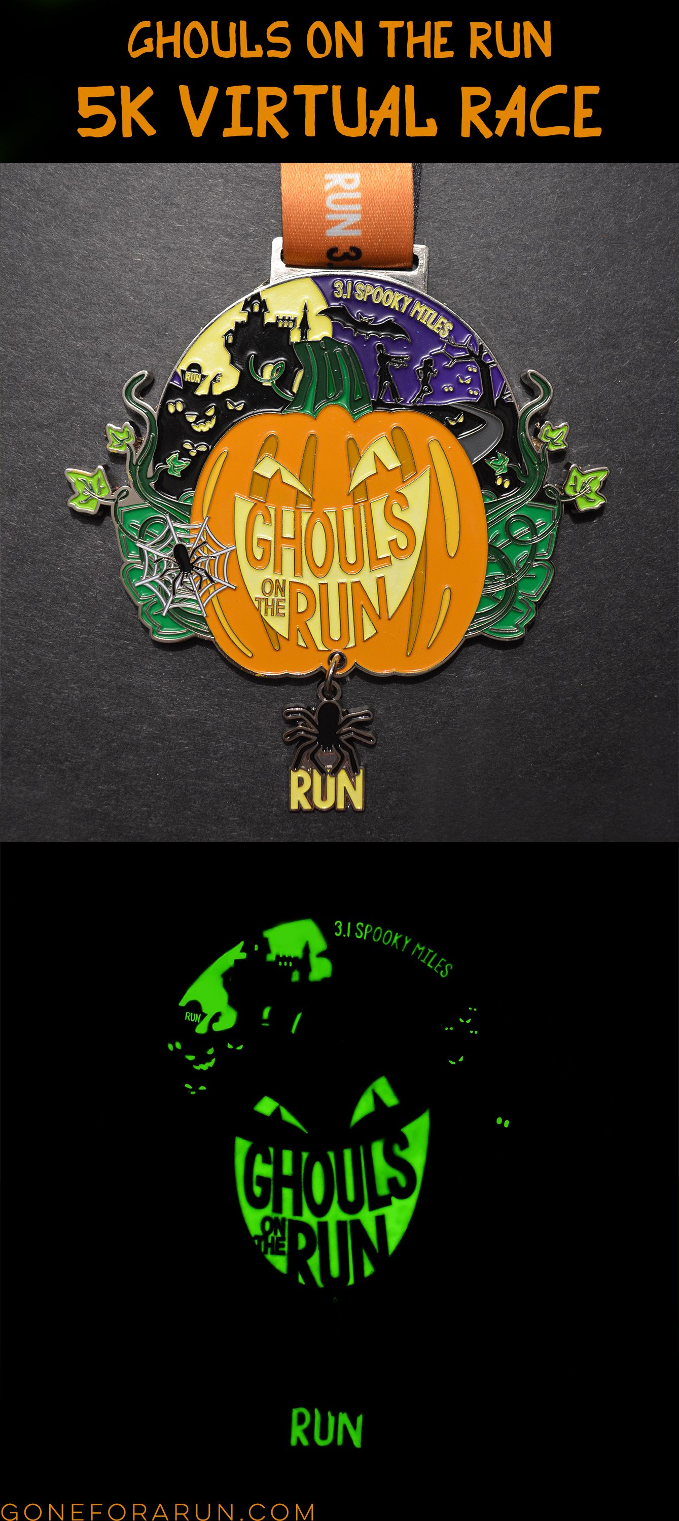 e8f41ffd4 Halloween Virtual Race! This year's race features a glow in the dark medal,  your choice of a race tee or tank and a real race bib. Run anywhere, share  with ...