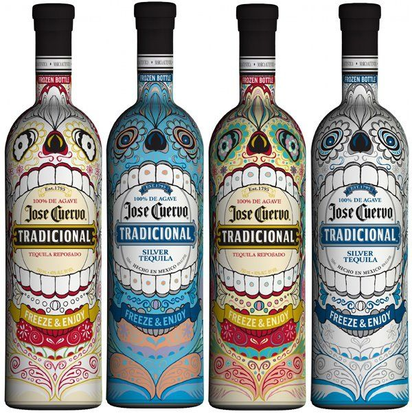 "The thermochromic packaging of ""Jose Cuervo Tradicional - Reposado"" and ""Jose Cuervo Tradicional - Silver"", which features Mexican-inspired skeletons whose colors turn brilliant when chilled to at least 42 degrees #packaging Carefully selected by GORGONIA www.facebook.com/gorgonia.it"