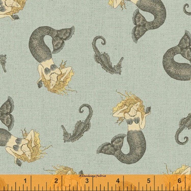 Seahorse & Mermaid Fabric, Windham Drift Away 41343 1, Sue ... : mermaid quilt fabric - Adamdwight.com
