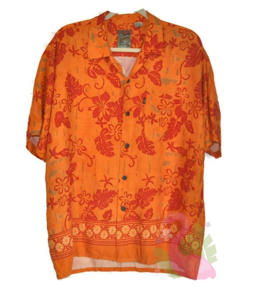 90be700144 PINEAPPLE CONNECTION Hawaiian Camp Shirt Large Mens Orange Hibiscus Flowers   PineappleConnection  Hawaiian