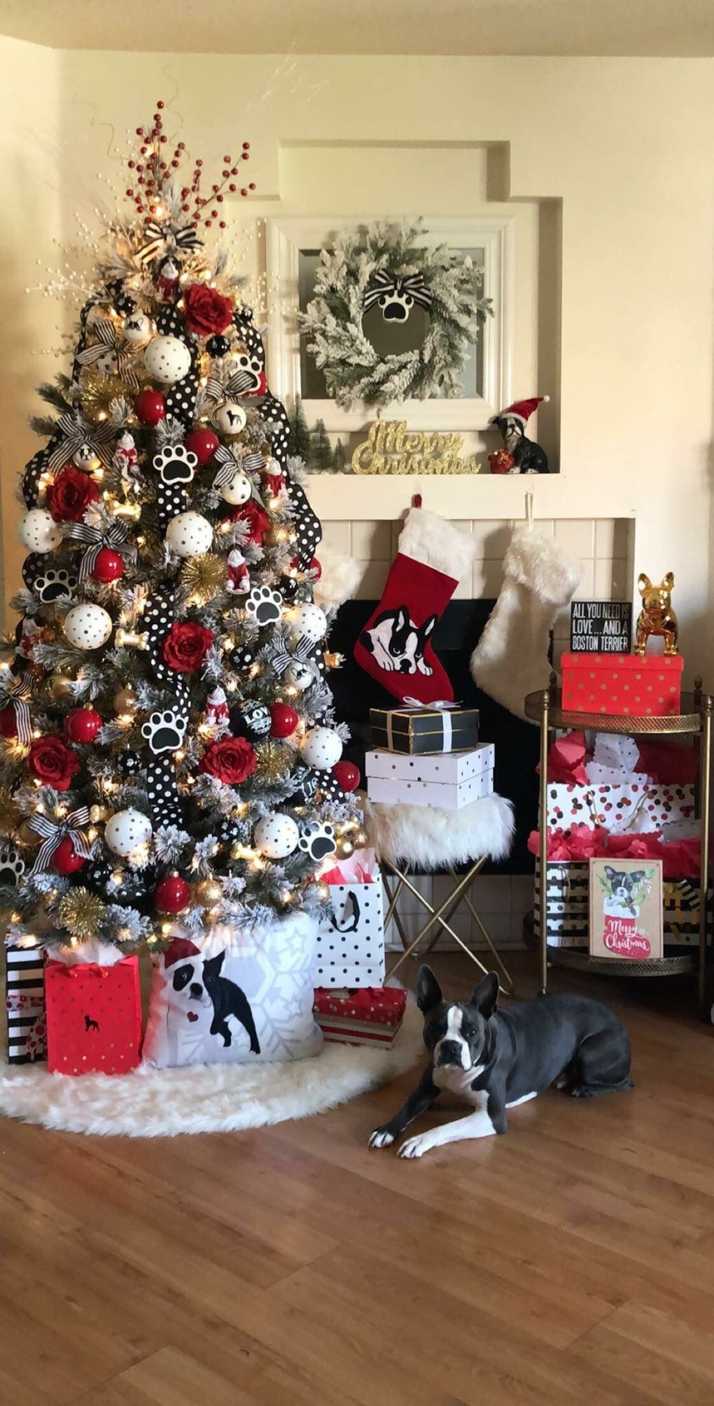 Pin By Nikey Mattson On Boston Terriers Christmas Tree Dog Boston Terrier Christmas Dog Tree