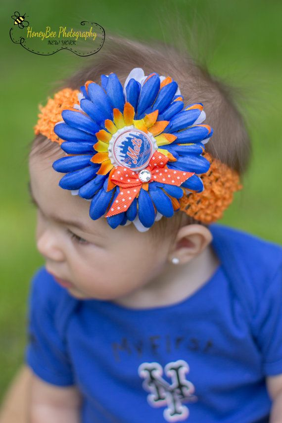 size 40 a694e 98497 New York Mets Bow Headband Baby Girls luxury by ...