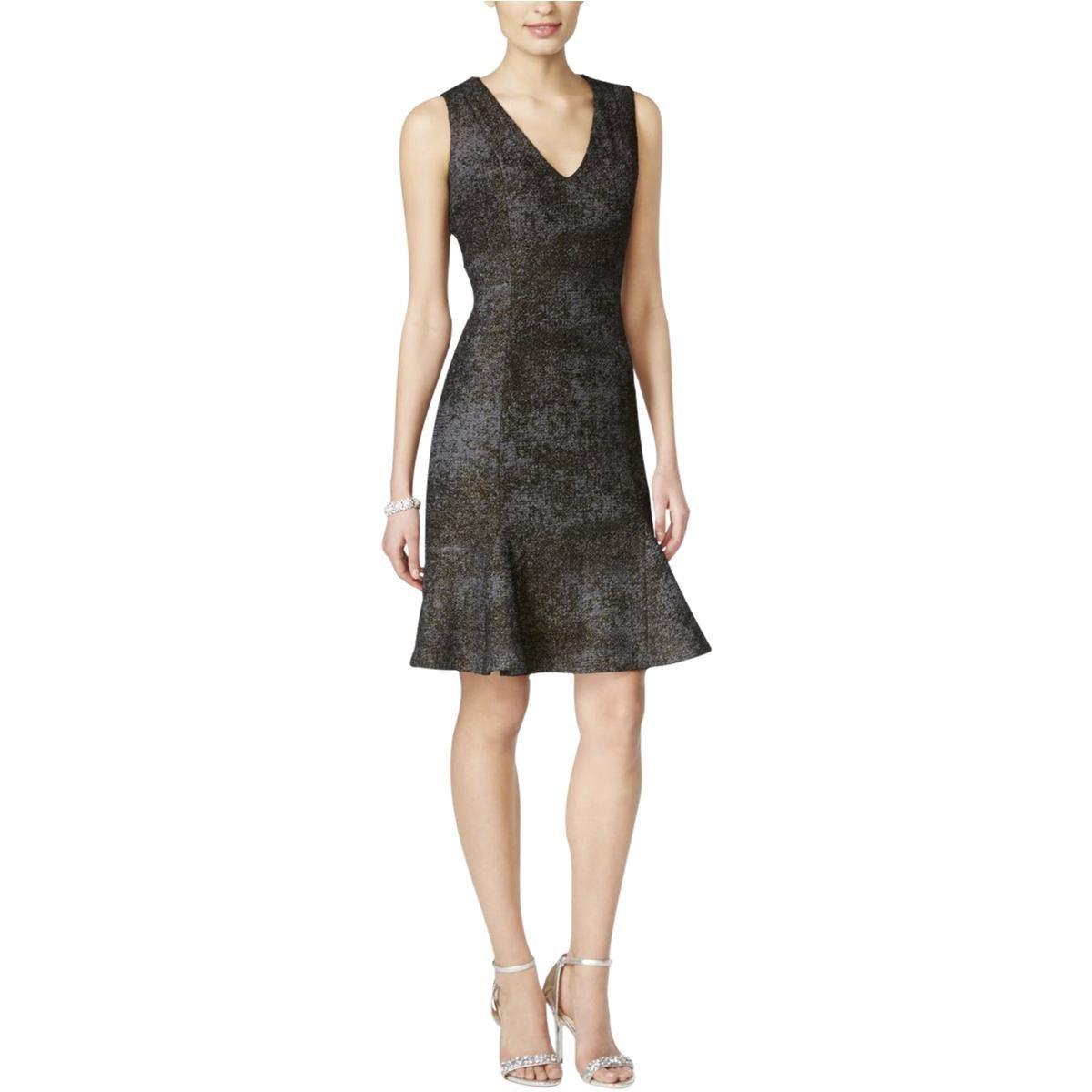 B Michael Womens Metallic Marled Party Dress
