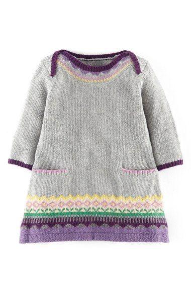 Photo of Mini Boden Fair Isle Knit Sweater Dress (Baby Girls