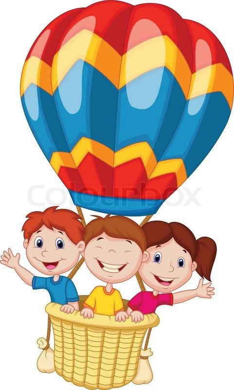 8299665 happy kids cartoon riding a hot air - Cartoon Picture For Kids