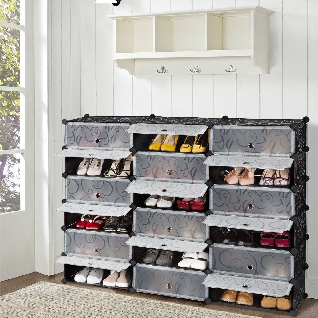 Langria 18cube Diy Shoe Rack Storage Drawer Unit Multi Use Modular Organizer Plastic Cabinet With Doors Blac Shoe Storage Cabinet Plastic Cabinets Cube Storage