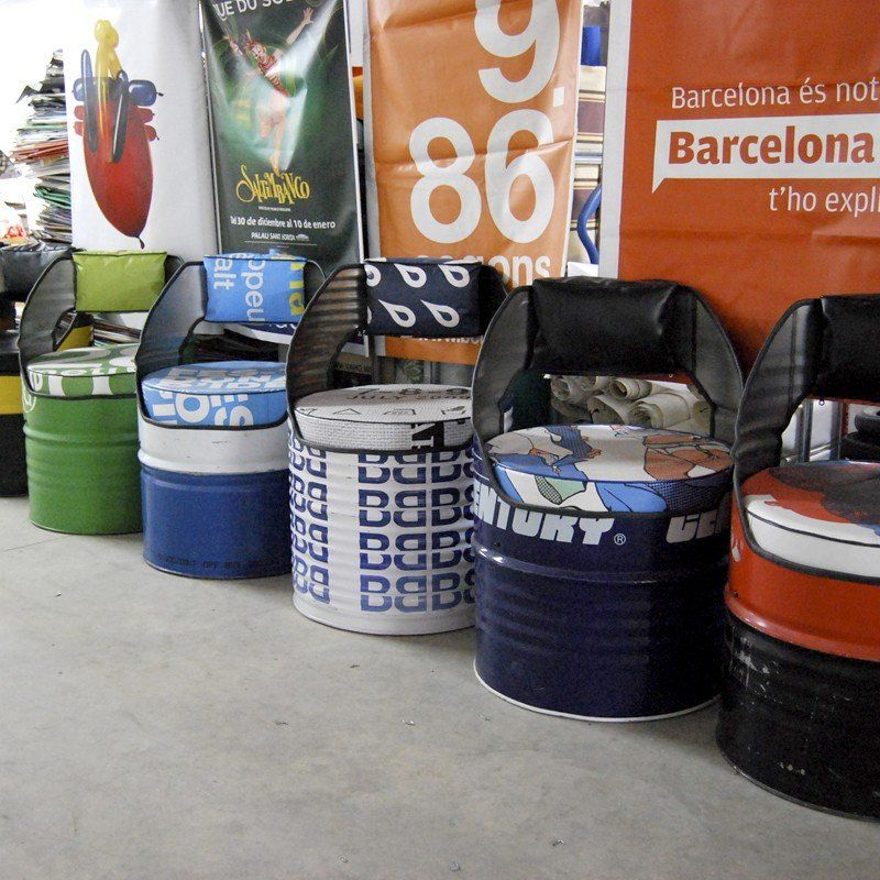 Lovely Oil barrels converted into seating Design by Vaho in Barcelona Comfy too http