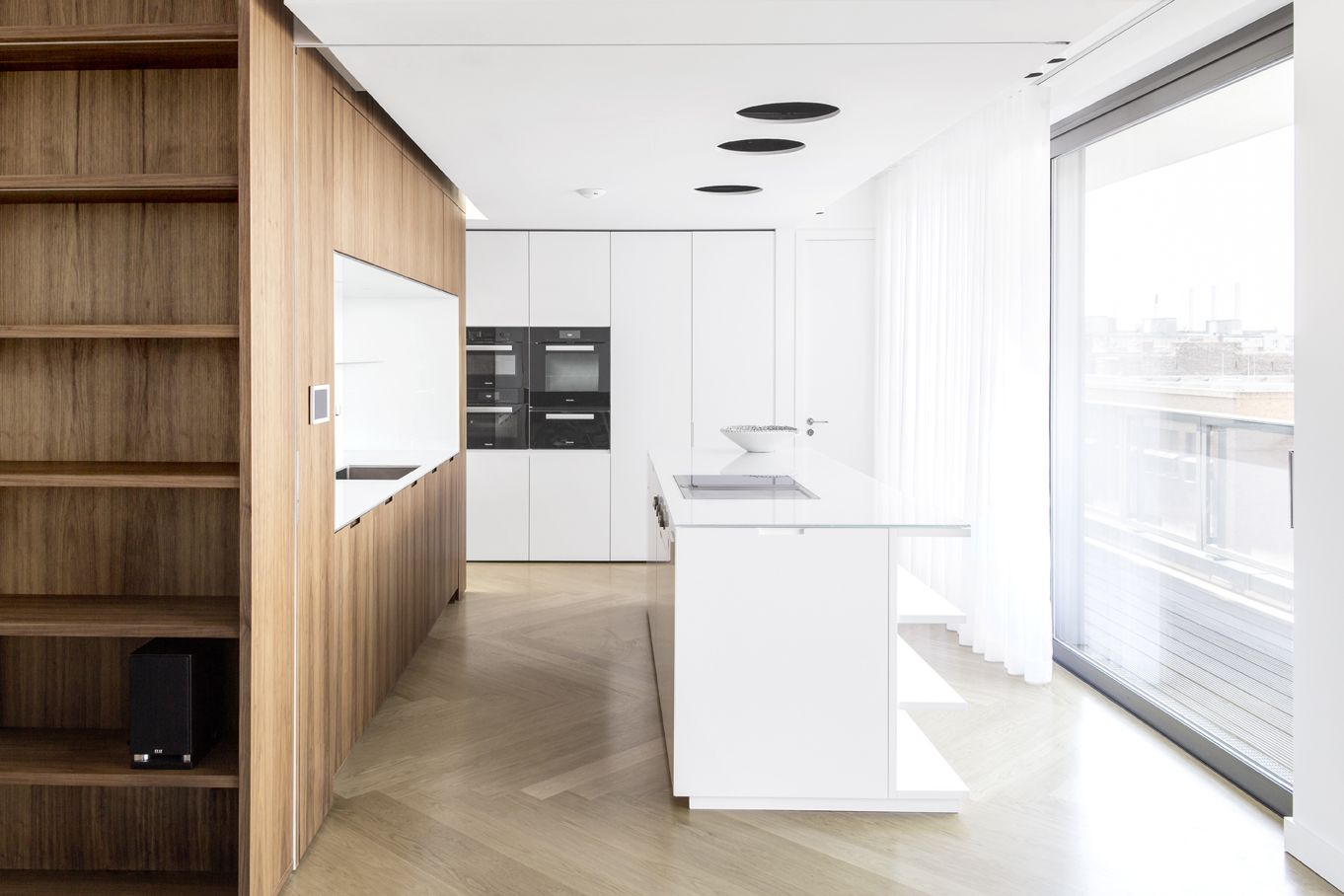 berlin - penthouse - kitchen - white -built-in - cabinet - drawer ...