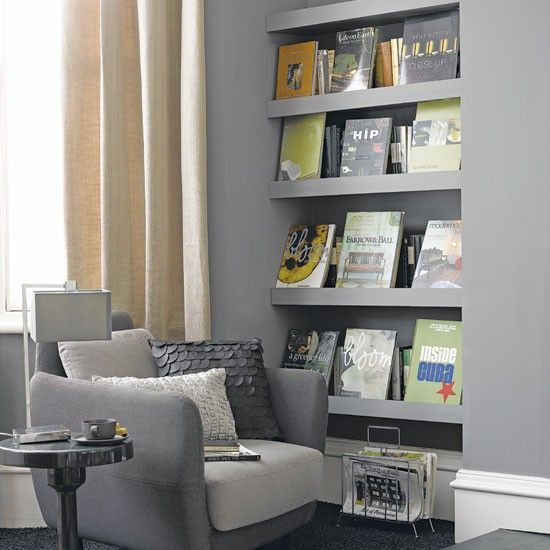 A wall of shelves is a great way to store and display books. By adding a fascia to the front of the shelves you can choose which books to show off.