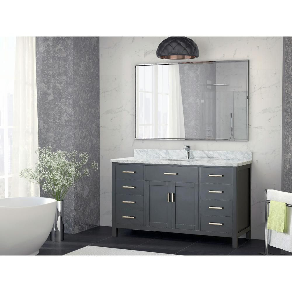 Art Kelia 60 Inches Single Sink Bathroom Vanity Pepper Gray Finish