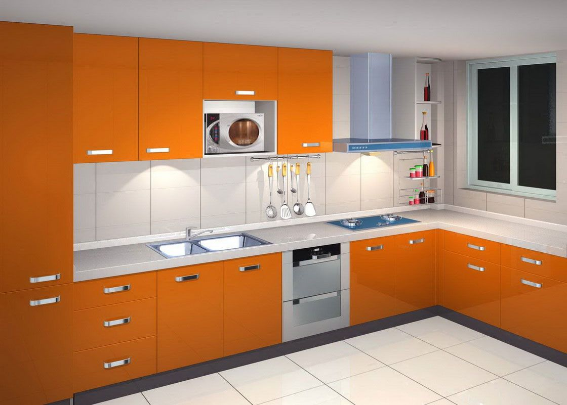 minimalist laminate kitchen cupboard in orange colour | Interior ...