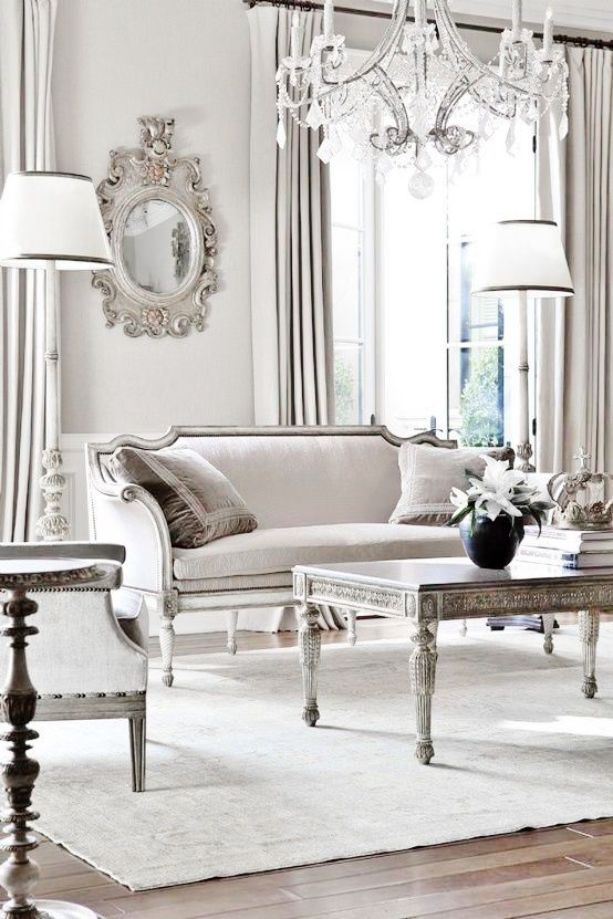 french living room ideas. Dove Gray Home Decor  Stay Luxus Luxuspiration Inspiration for the Elegant House classical grey and white living room with chandelier formal Pin by Kathy P on Fashion Shimmering Silver Pinterest Living