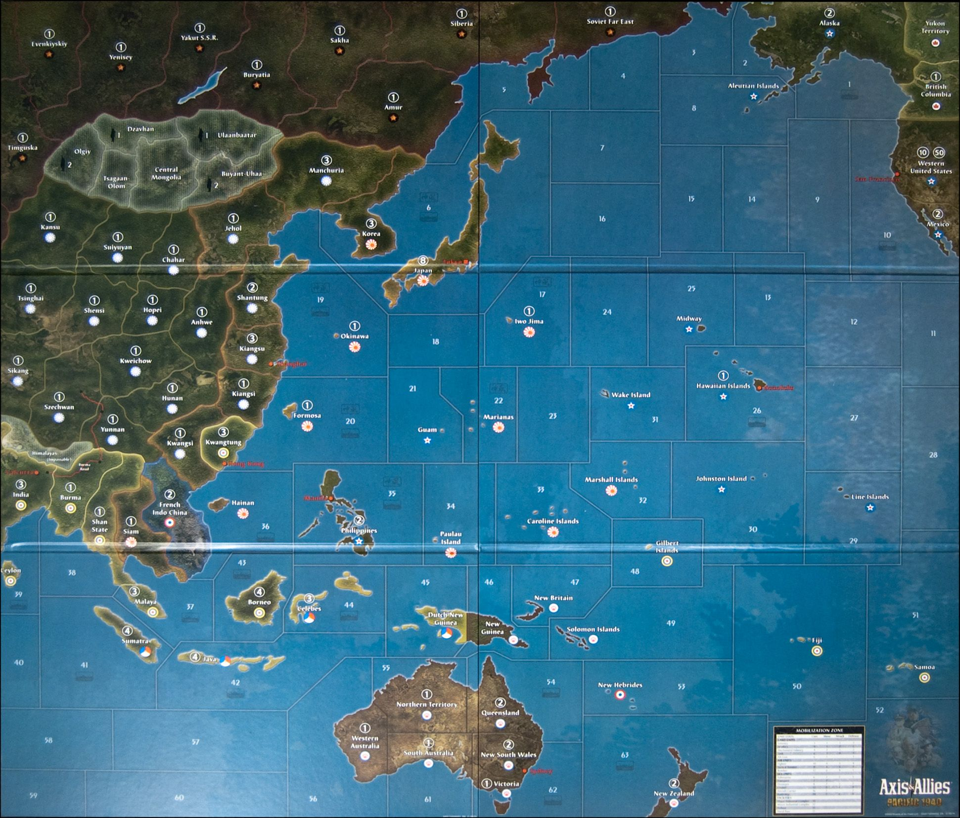Axis And Allies Pacific Map Large Axis and Allies Maps | Image: Axis & Allies Pacific 1940 Map