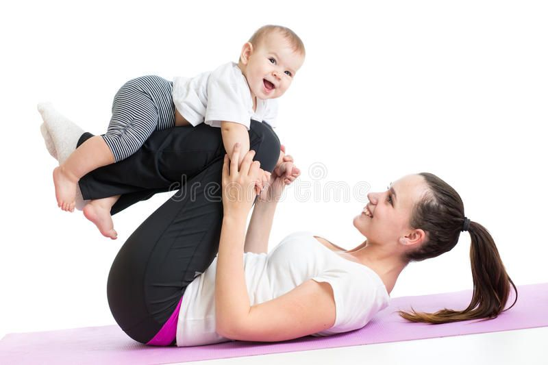 Mother with baby do gymnastics and fitness exercises. Mother with baby doing gym , #AD, #baby, #Moth...