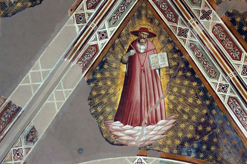 Agnolo Gaddi - Dottori della Chiesa, dett. San Girolamo - affresco - 1385 - volta Cappella Castellani - Basilica di Santa Croce a Firenze