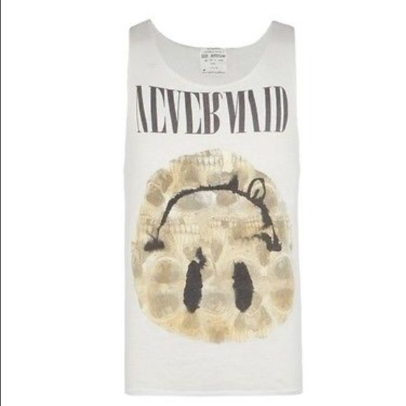 All saints nevermind tank. Size small. I loved this so much I bought it twice! Selling the small. Nirvana album cover. Vintage grunge vibes. Small runs oversized. Raw edge. All Saints Tops Tank Tops