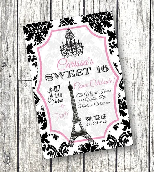 Sweet 16 Invitation Paris Theme Birthday Party or Quinceanera – Quince Party Invitations