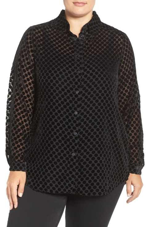 Foxcroft Burnout Velvet Blouse Plus Size Real Fashion For Real