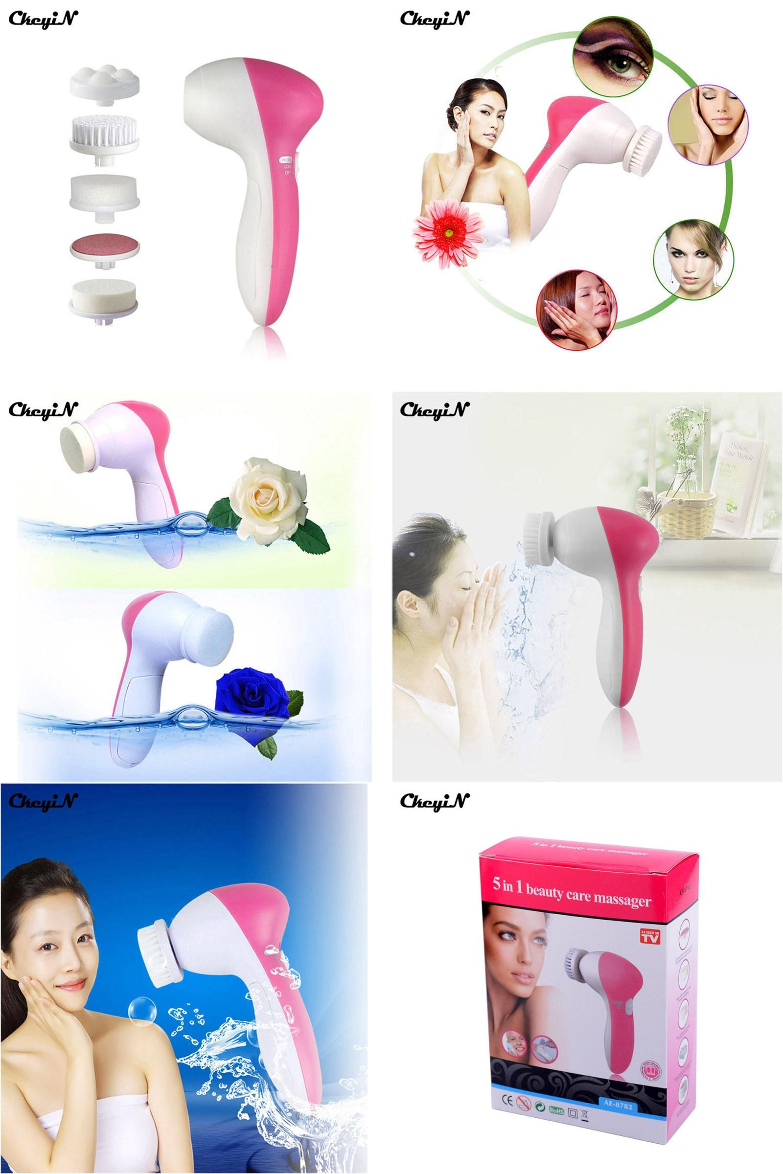 [Visit to Buy] 5 in 1 Electric Face Massager Wash Mahine
