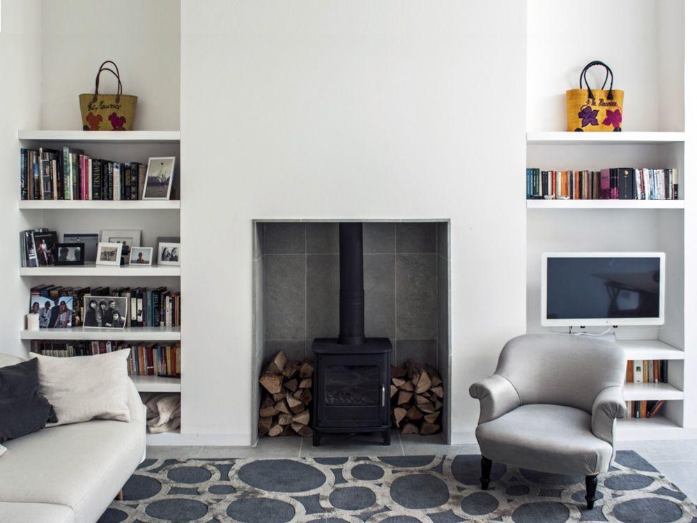 living room interior design wood burner fireplace