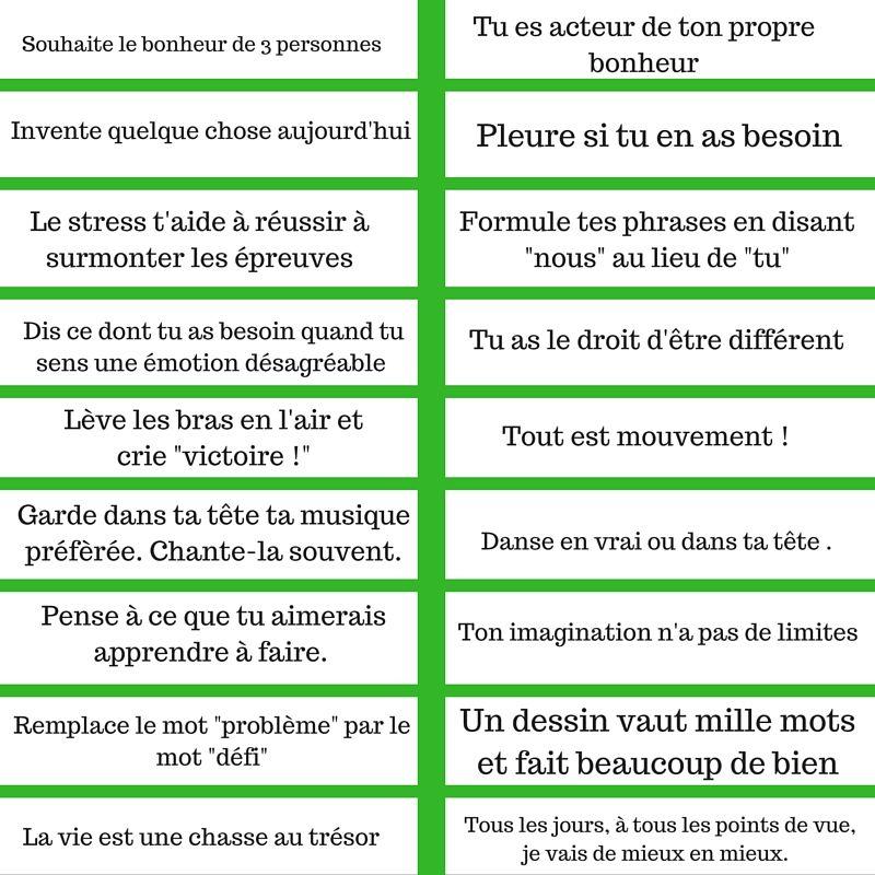 Rituel Les Messages Positifs Pdf A Imprimer Message Positif Apprendre Le Francais Positif