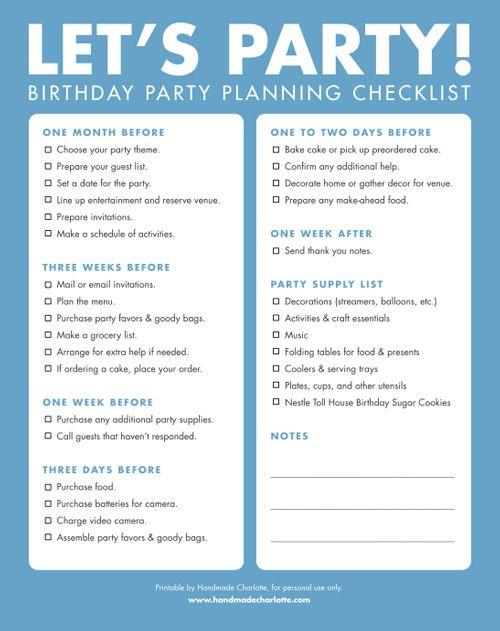 DIY Printable Birthday Party Checklist Party planning checklist - creating checklist