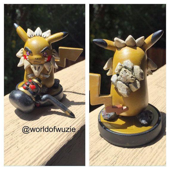 Custom Made Darunia Goron Pikachu Amiibo With Megaton Hammer Comes