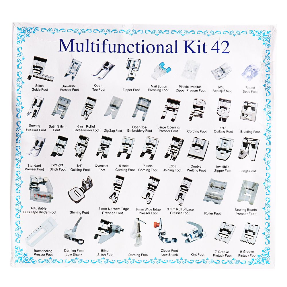 32//42Pcs Domestic Sewing Machine Presser Foot Set Kit For Singer Brother Janome