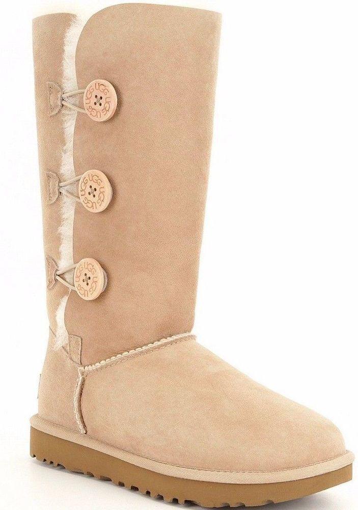 3244679ed49 NIB UGG Women's Bailey Button Triplet II Sheepskin Boot 1016227 Sand ...