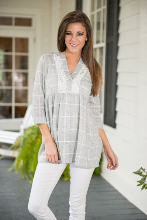 """""""Southern Ways Tunic, Gray""""    This top may have a southern flare but you can rock this beauty anywhere! It's so sweet and girly! The lace detailing about the neckline really set this one over the top!"""