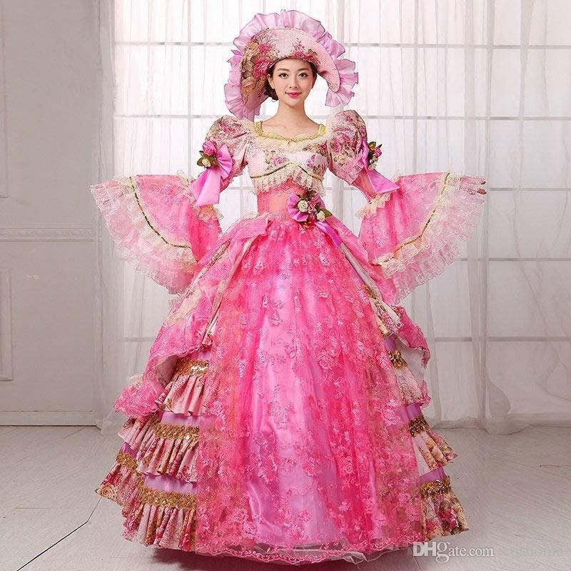e5395dfc9674 Custom 2016 Hot Sale Pink Floral Marie Antoinette Dress stage Costume 18th  Century Dance Ball Gowns For Ladies