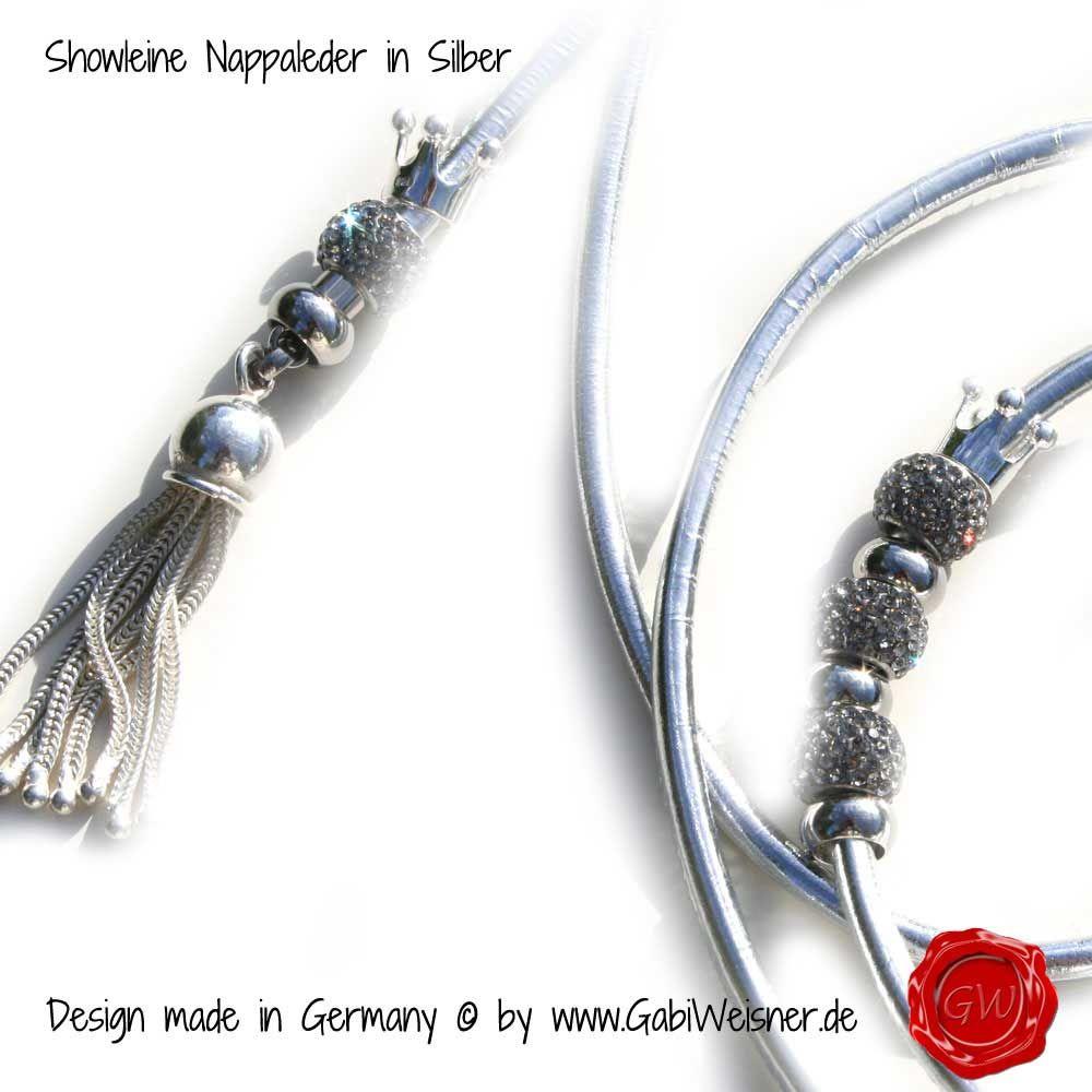 Showleine-Ausstellungsleine-Leder-Strass-Silber-6