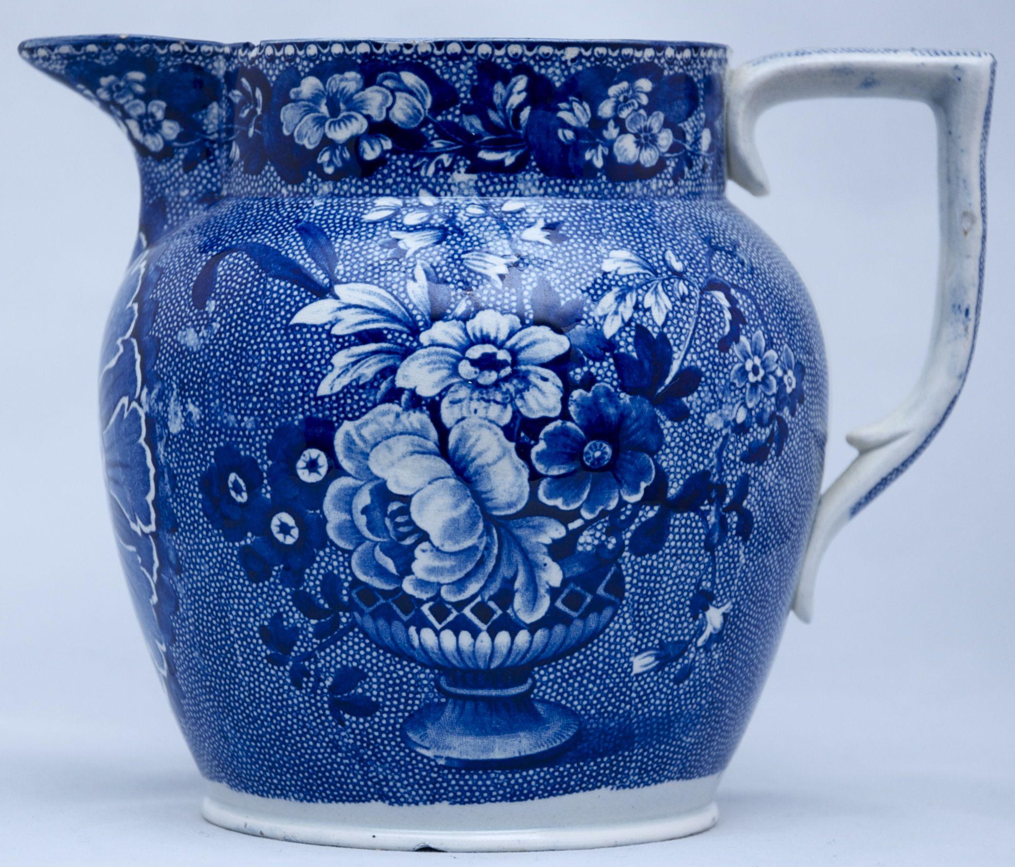 blue and white transferware pitcher k nnchen kanne. Black Bedroom Furniture Sets. Home Design Ideas