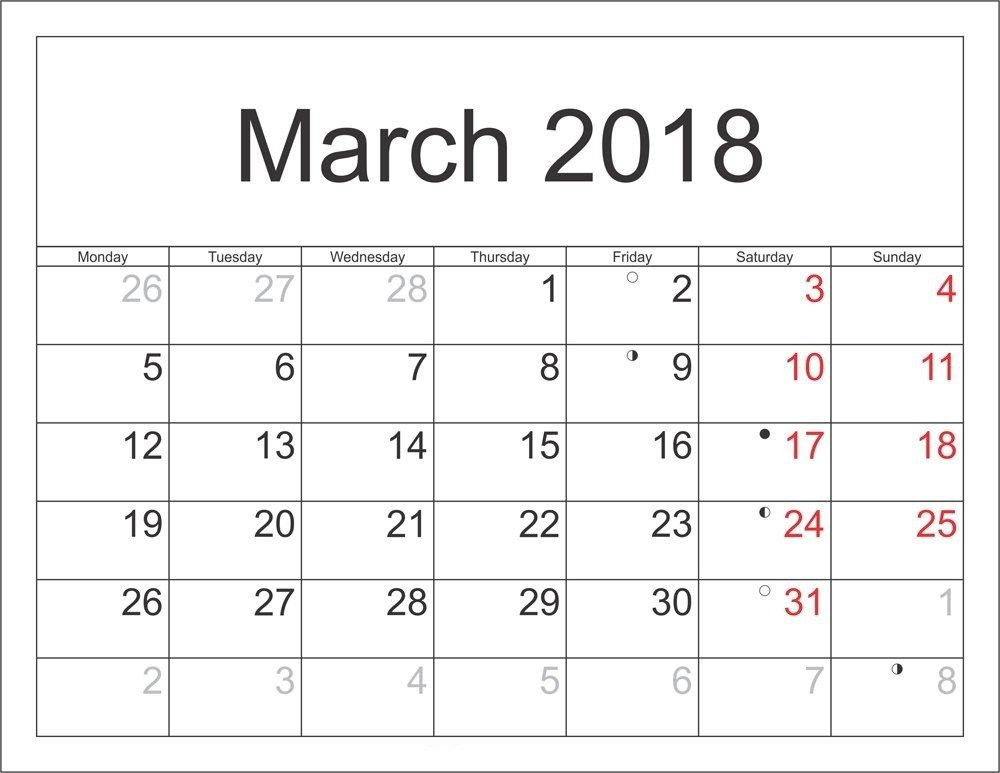 Free 5+ March 2018 Calendar Printable Template - Source Template ...