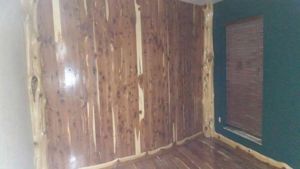 Rustic Cedar Wall With Cedar Corner Plays And Live Edge Trim Cedar Walls Rustic Furniture Rustic