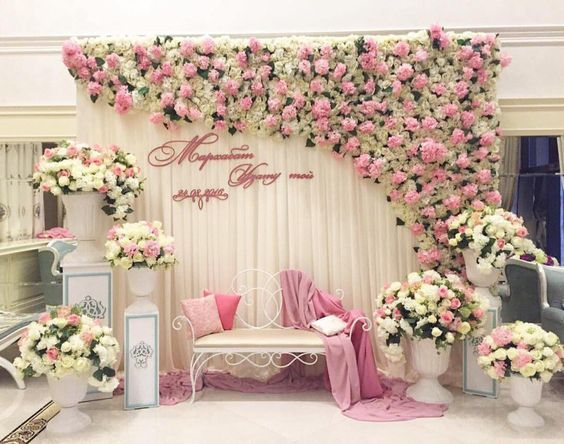 Love This White Mandap For Nikkah Ceremony White And Pink Floral