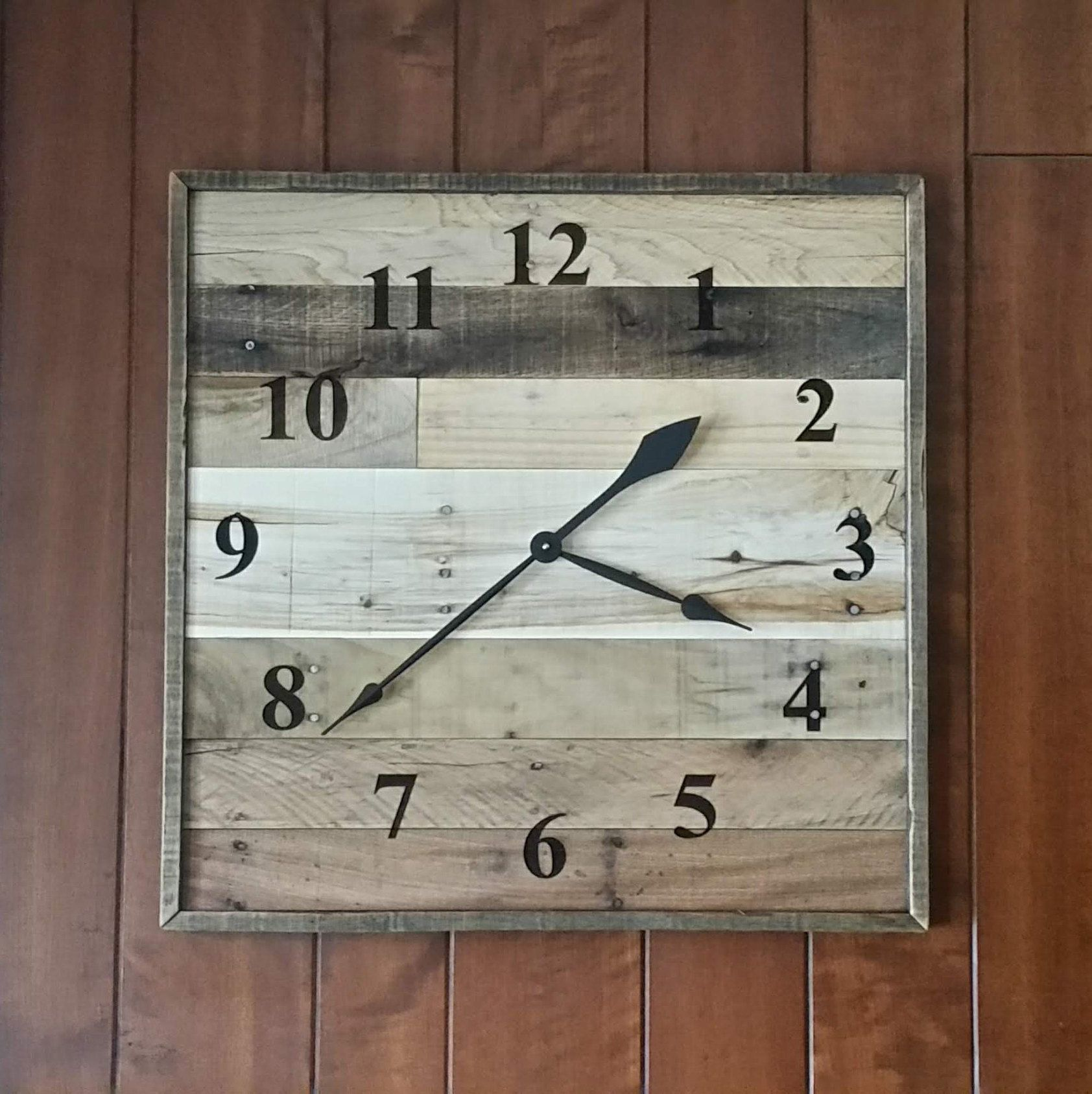 24 Wooden wall clock 24 square pallet wood wall | Etsy in ...