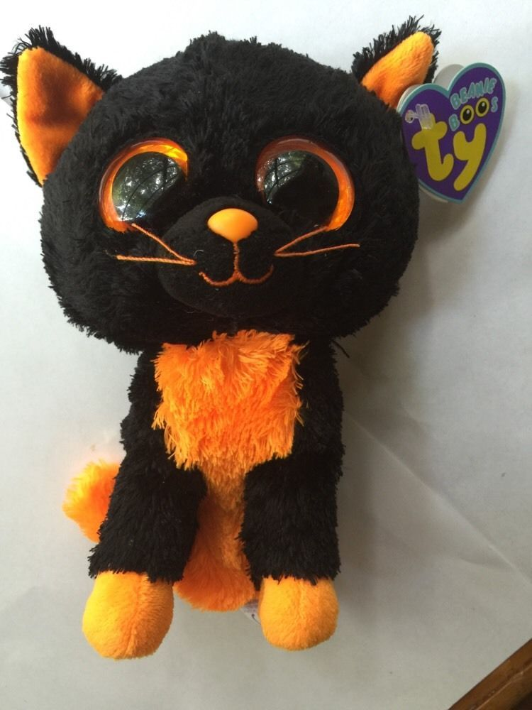 b5e7e7f6b5f TY Beanie Boo Moonlight Orange Black Halloween Cat Rare Retired 6