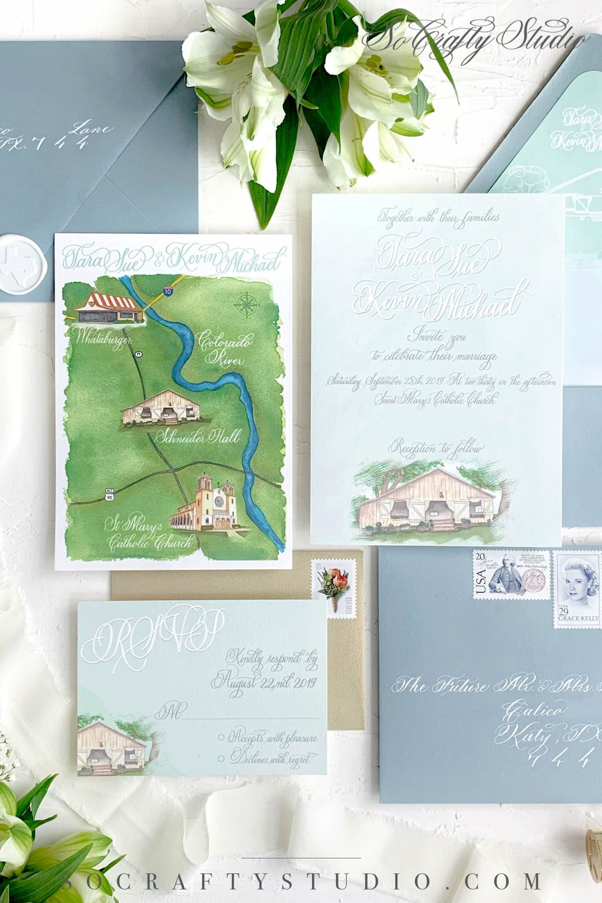 Custom Wedding Invitation Suite Watercolor Venue Watercolor Map Wedding Invitation In 2020 Watercolor Wedding Map Wedding Map Custom Wedding Invitations