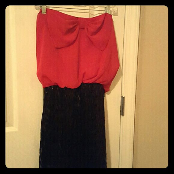 Dress Strapless red and black dress, bottom is sequined in a chevron pattern with a bow on the top Charlotte Russe Dresses Mini