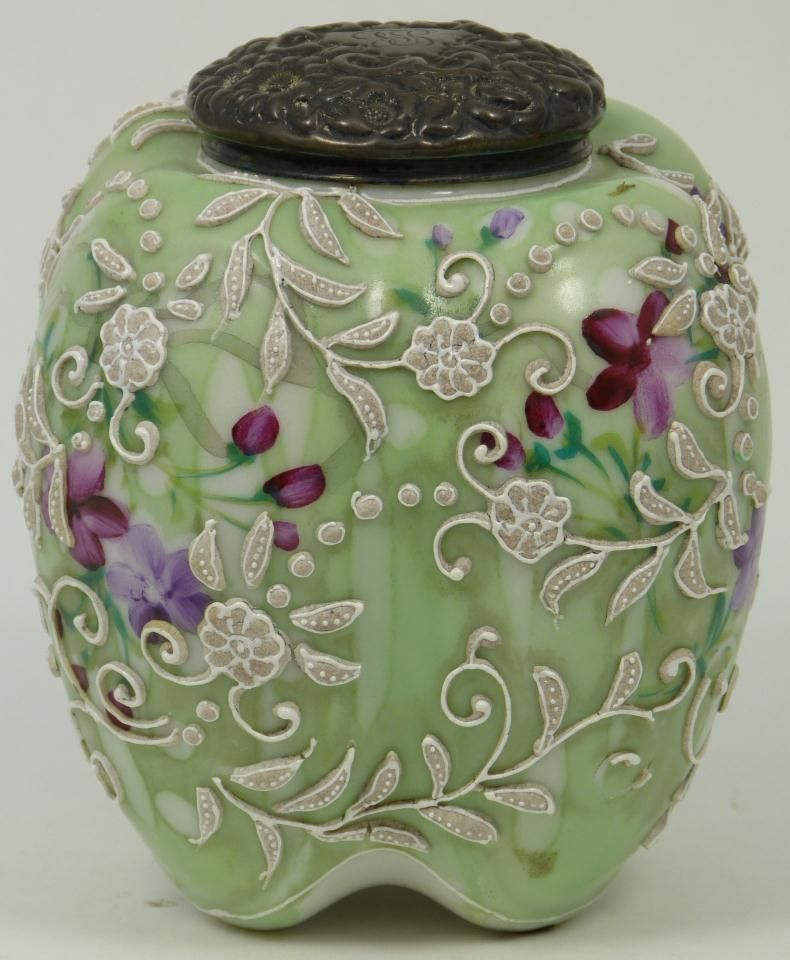 Nippon Moriage Vase With Beading Nippon Porcelain