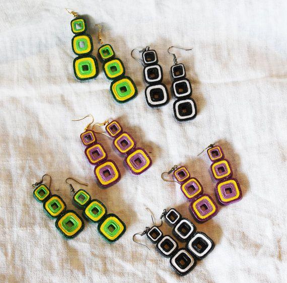 Orecchini pendenti in carta colorata di HandyMadeItalia su Etsy