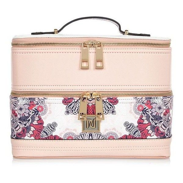 River Island Pink Floral Print Vanity Case 37 Liked On Polyvore Featuring Beauty Products Beauty Accessories Bags Womens Purses Purses Women Handbags