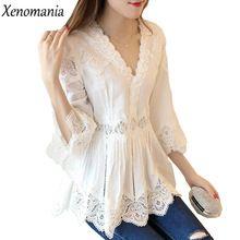 ffb6e13ad1 Blusa de Renda branca Roupas Baratas China Blusa Feminina Camisa Mulheres  2017 Kimono Plus Size Boho