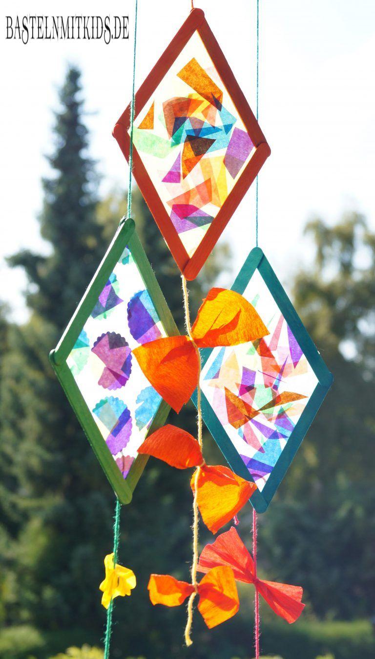 Drachen basteln mit Holzstäbchen - Basteln mit Kindern #herbstfensterdekokinder