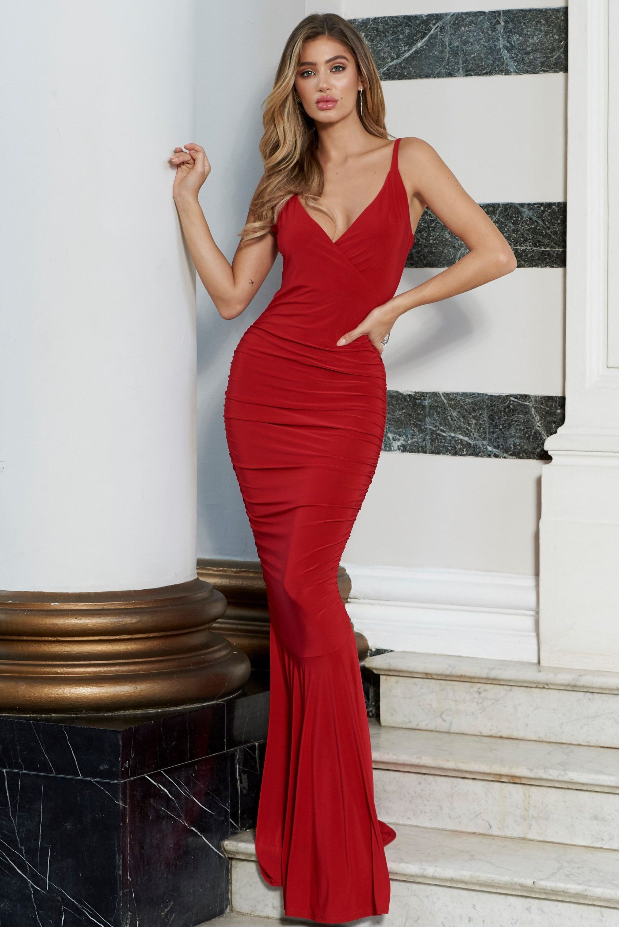 a27125a9a257 Red Plunge Neck Ruched Strappy Fishtail Maxi Dress in 2019 | Fashion ...