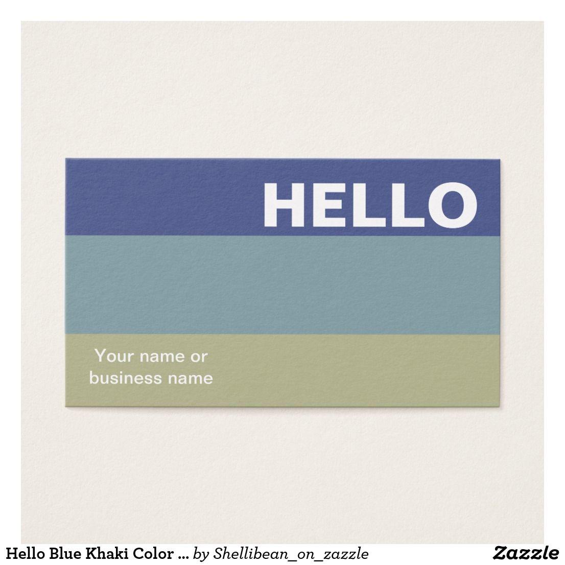 Hello blue khaki color palette minimal classy business card reheart Gallery