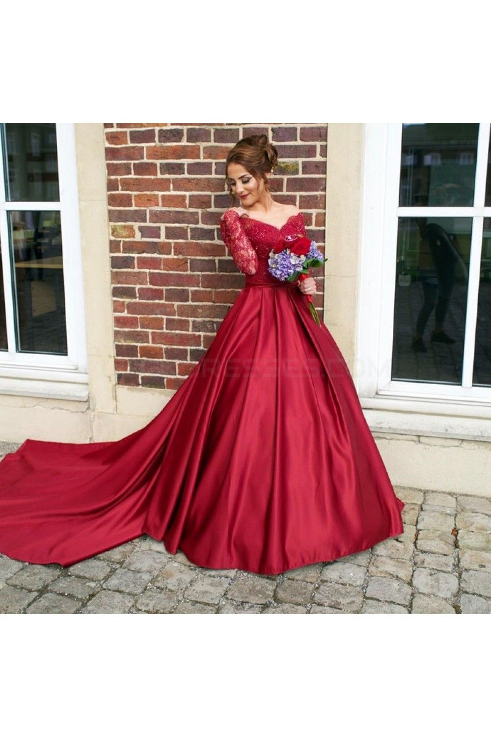 Ball gown long red long sleeves lace offtheshoulder prom