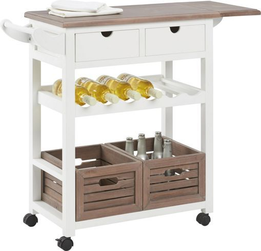 Stilvoller Küchenwagen in Weiß und Braun - flexibel und praktisch ...   {Küchenwagen schmal 57}