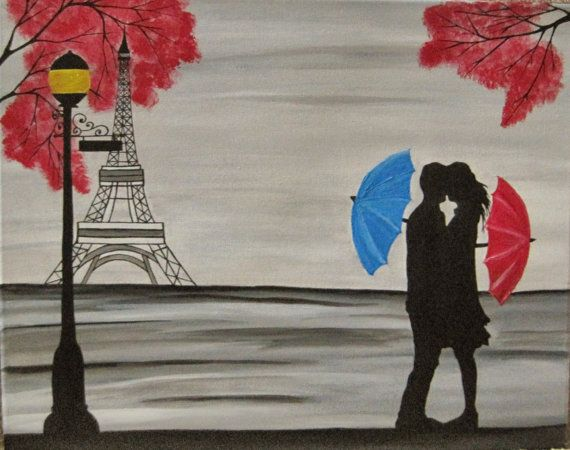 original couple in rain painting couple kissing in by